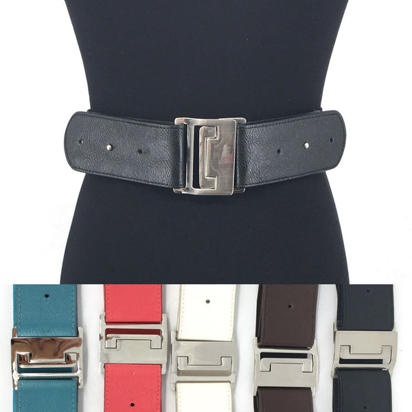 Unique Western Fashion Silver Metal WAIST WIDE ELASTIC BELT Stretch PU Leather
