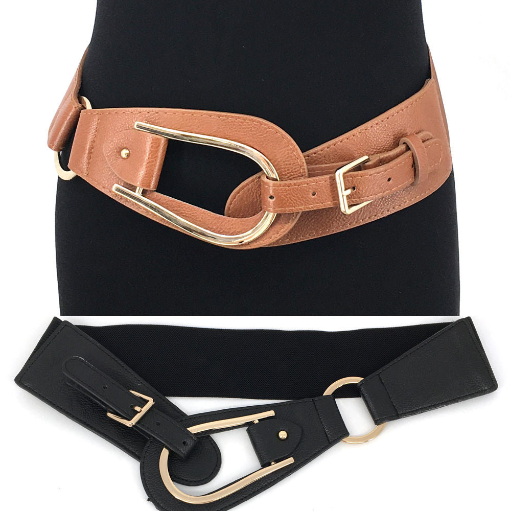WOMEN Western Fashion Gold Metal Hook WAIST HIP WIDE ELASTIC BELT Stretch Long