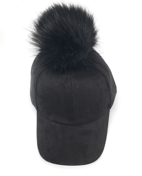 Unisex Men Women FUR JUMBO Large POM POM FAUX SUEDE BASEBALL CAP Hat Adjustable