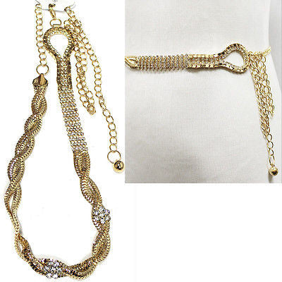 Lady Brass HIP WAIST Rhinestone GOLD SILVER BLING MESH METAL CHAIN BELT S M L XL