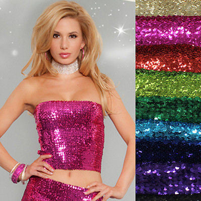 Sexy Club Wear Patry Shiny Full Sequin Elastic Stretch Long Tube Top or Skirt