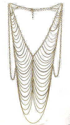 Sexy Club Bikini Beach WAVES BODY Gold JEWELRY VEST Multi METAL Chain Necklace