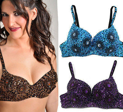 Sexy Clubwear Rave GoGo Flower Sequin Beaded Belly Dancer Bra Samba Costume 36C
