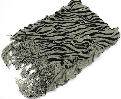 Warm winter Knitting Elastic Zebra Tassel Fringed scarves Gift Scarf Stole Wrap