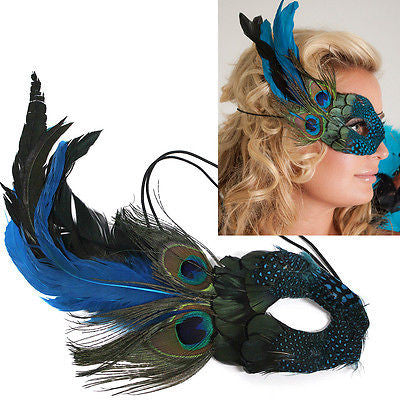 NEW Peacock Feather Masquerade Mask fancy dress Costume Party Prom Halloween