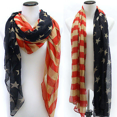 New Patriotic USA American Flag Theme Scarf Scarves Wrap US Ship 100% Viscose