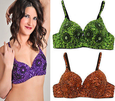 Sexy Clubbing Punk Gathers Flower Sequin Beaded Belly Dancer Bra Samba 32/70