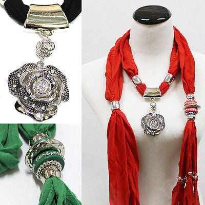 Women Jewelry necklace Scarves Gift scarf pendant Charm RHINESTONES BIG FLOWER