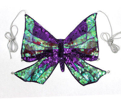 Sexy Club Rave Gogo Turquoise Sequin Butterfly Top Open Criss Cross Back Multi
