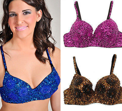 Sexy Clubbing Punk Gathers Flower Sequin Beaded Belly Dancer Bra Samba Size 42C