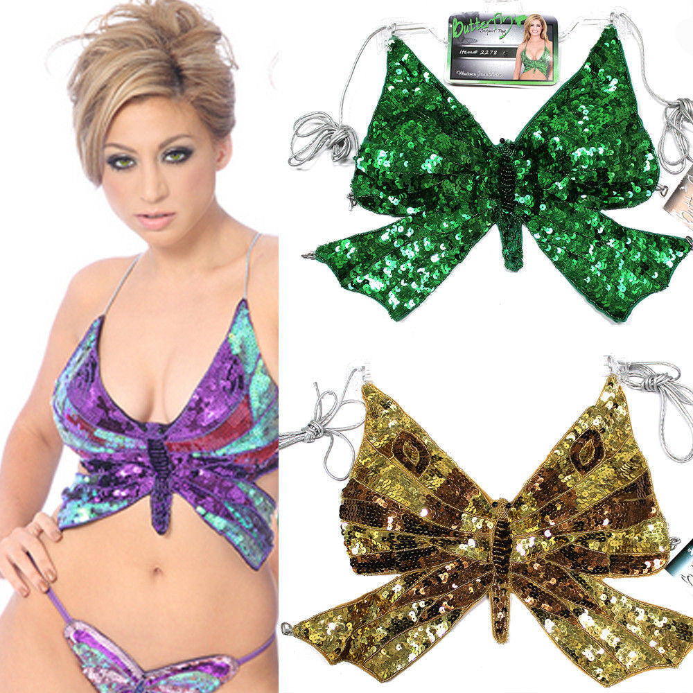 Clubwear Rave Gogo Sequins Butterfly Belly Dancer Bra Halter Top Cross Costume 2