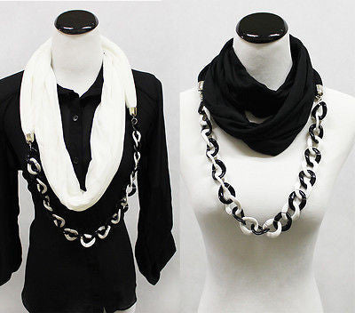 New Sexy Soft Jewelry Infinity Scarf Scarves Chain Necklace Long Shawl Loop Cowl