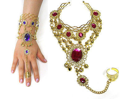 Sexy Gold Belly dance Gothic Lolita beads Bell bracelet ring Bangle Costume