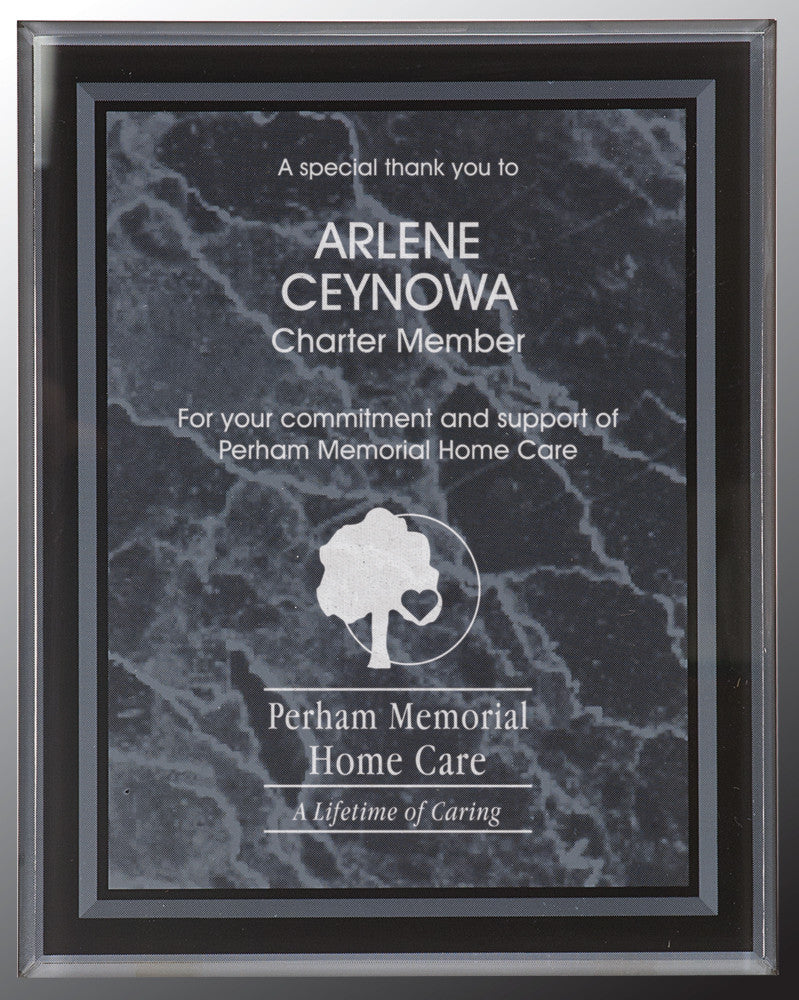 "Acrylic Plaque-9"" x 11""-Black Marble Border-Clear"