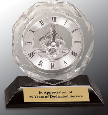 Clear Crystal Clock on Black Pedestal Base-5 3/4