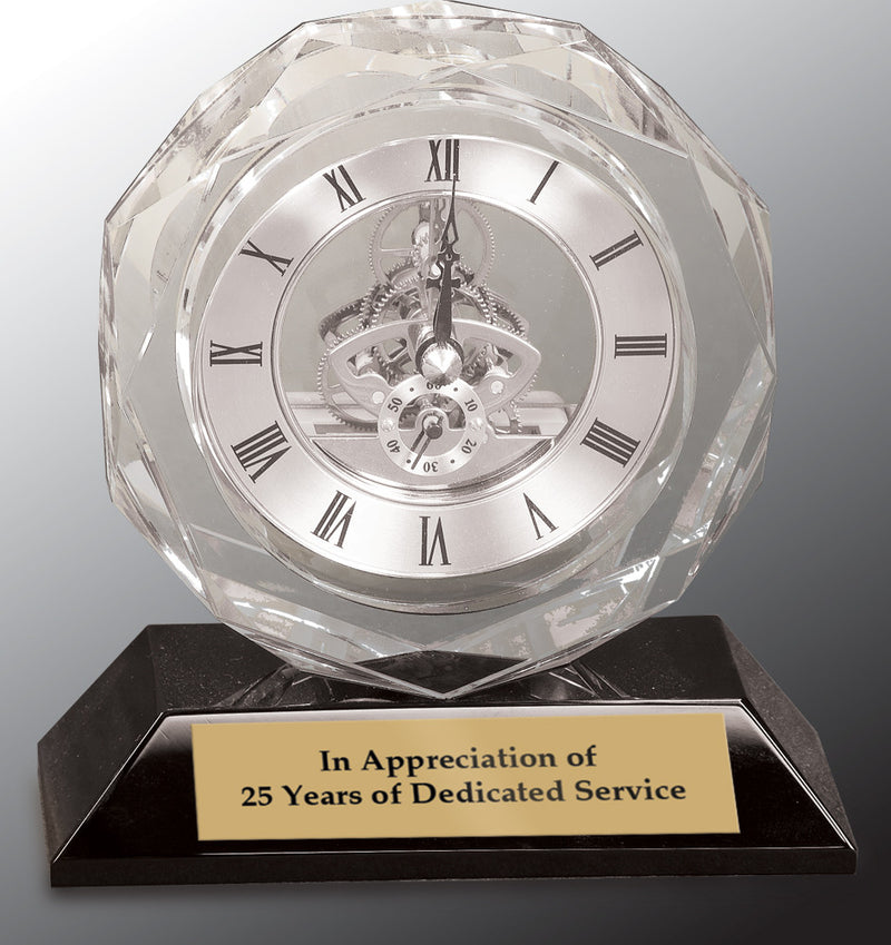 Clear Crystal Clock on Black Pedestal Base-5 3/4""