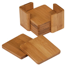 6-Coaster Set with Holder-Bamboo-Square