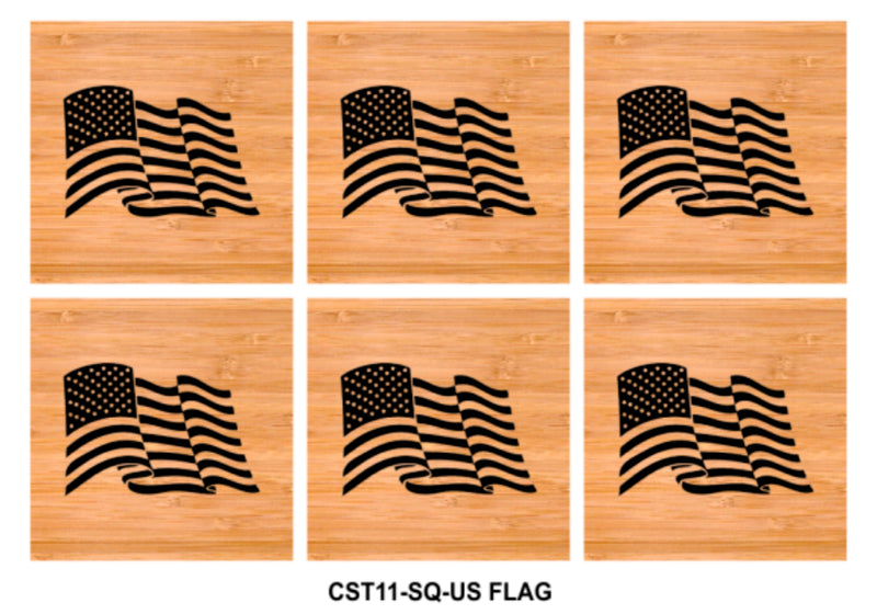 6-Coaster Set with Holder-Bamboo-Square-US FLAG