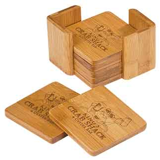 6-Coaster Set with Holder-Bamboo-Square-ANIMALS