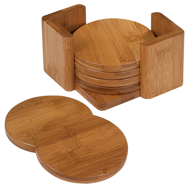6-Coaster Set with Holder-Bamboo-Round-ANIMALS
