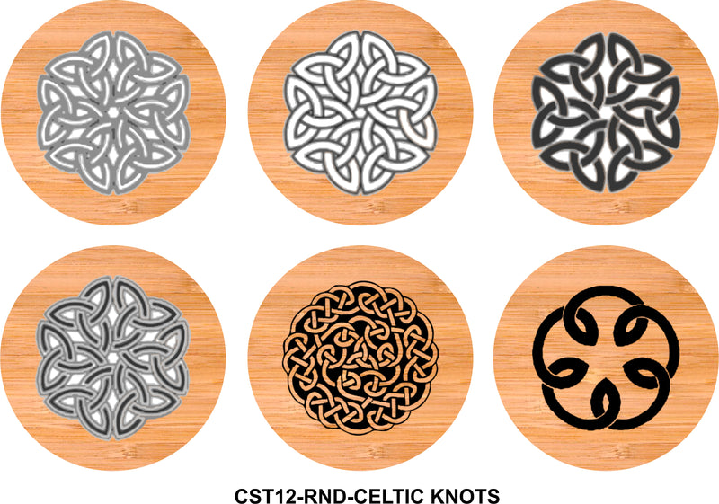 6-Coaster Set with Holder-Bamboo-Round-CELTIC KNOTS