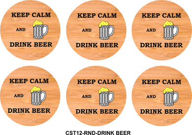 6-Coaster Set with Holder-Bamboo-Round-DRINK BEER