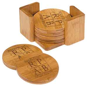 6-Coaster Set with Holder-Bamboo-Round