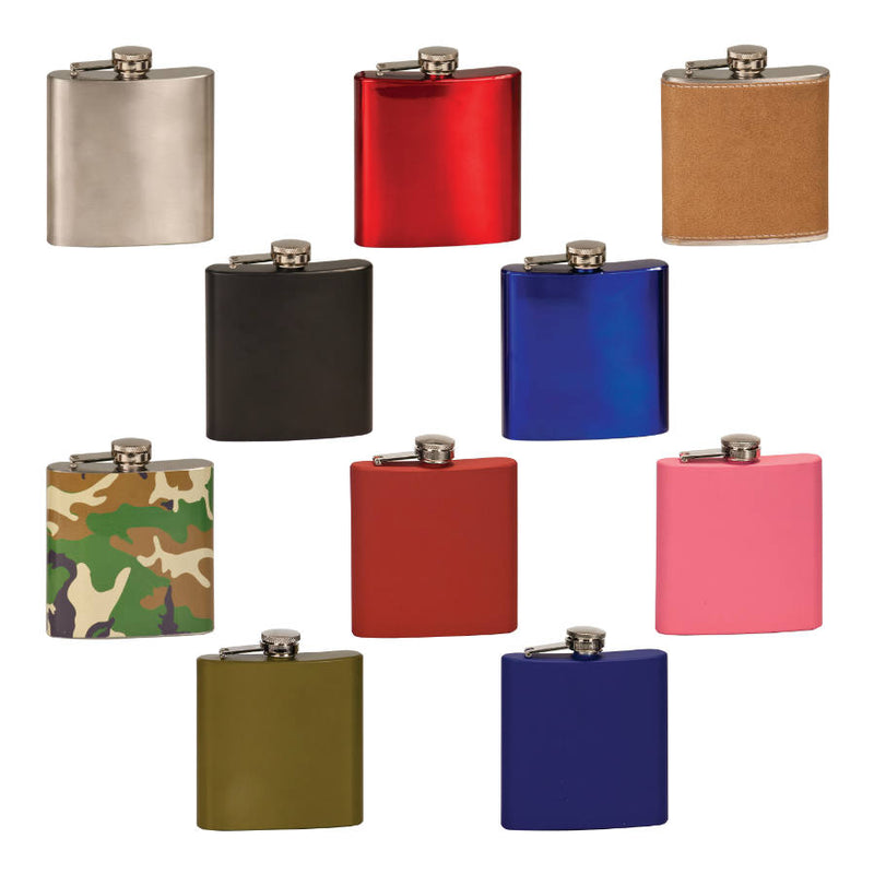 Gloss Red 6 oz Stainless Steel Flask