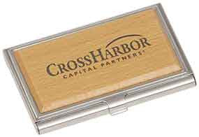 "Business Card Holder-3 3/4"" x 2 1/2""-Silver/Wood"