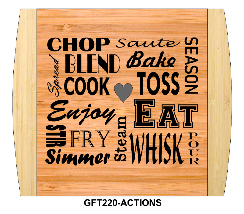"Cutting Board-Rectangle-2-Tone-13.5"" x 11.5""-Kitchen Actions-Bamboo"