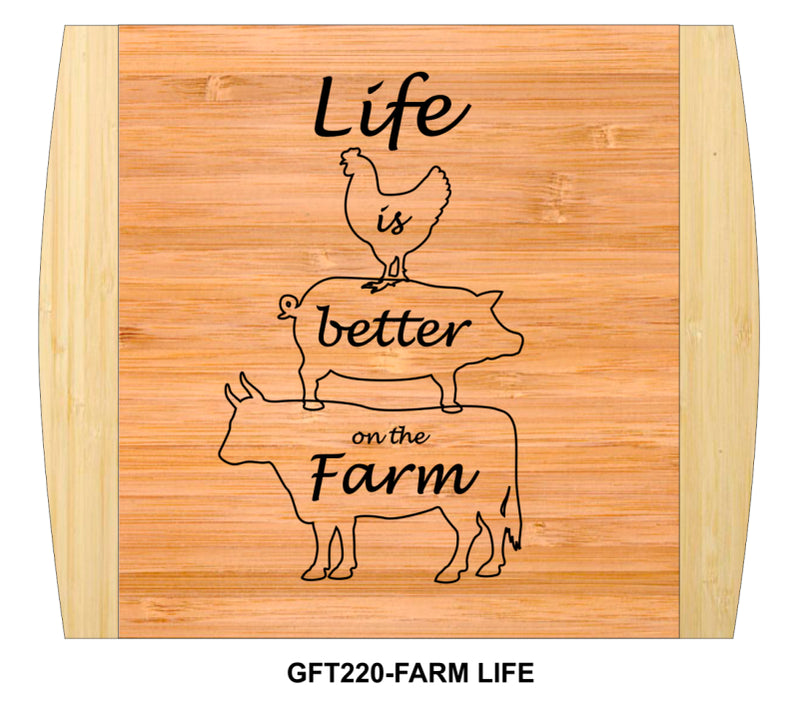 "Cutting Board-Rectangle-2-Tone-13.5"" x 11.5""-Life on the Farm-Bamboo"