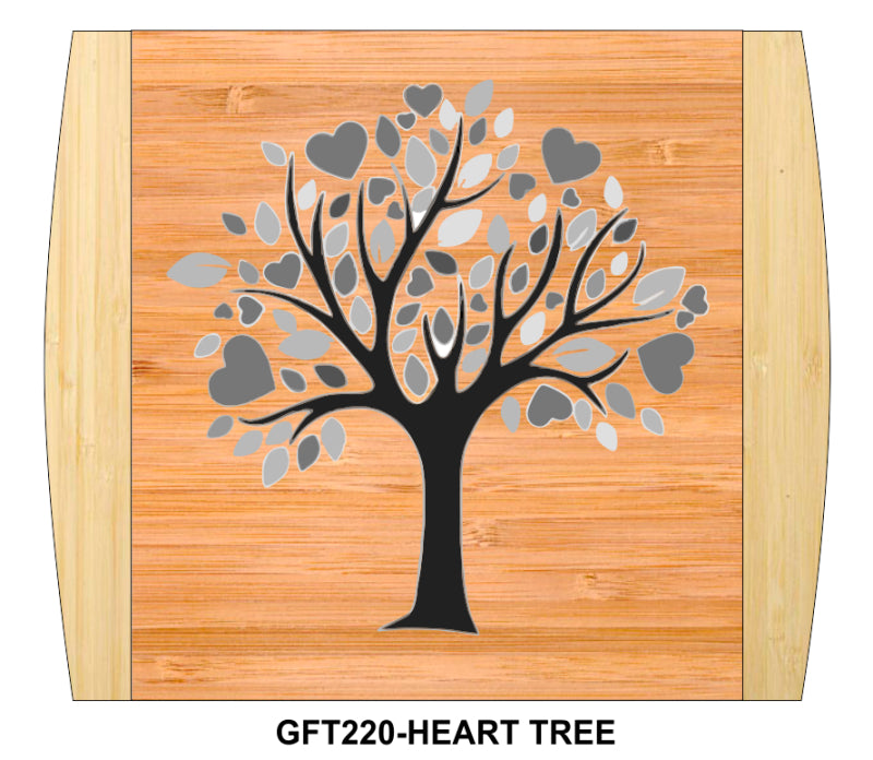 "Cutting Board-Rectangle-2-Tone-13.5"" x 11.5""-Heart Tree-Bamboo"