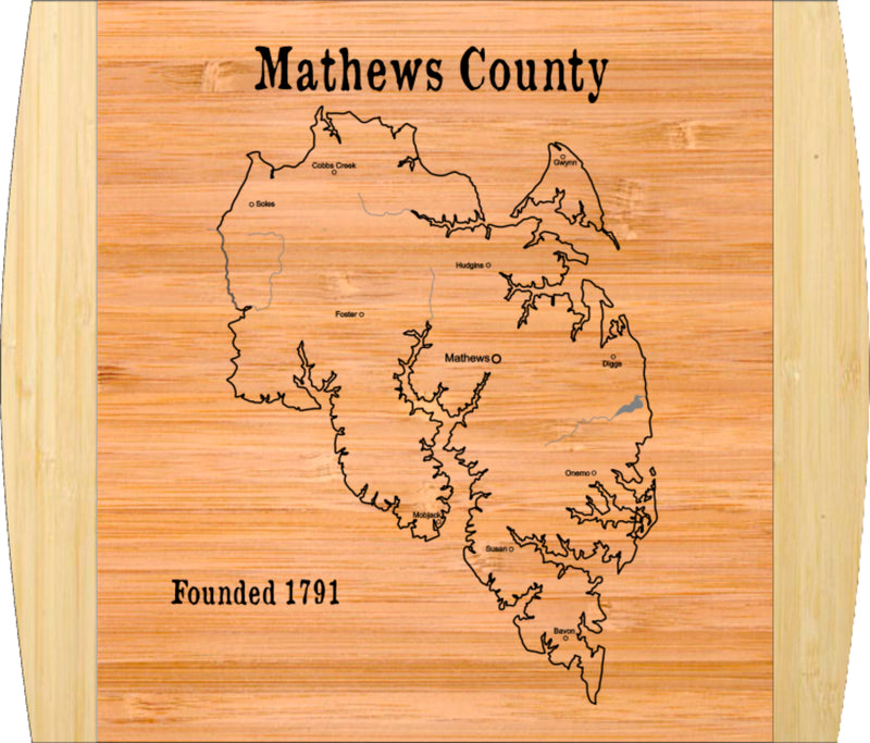 "Cutting Board-Rectangle-2-Tone-13.5"" x 11.5""-County, Mathews-Bamboo"