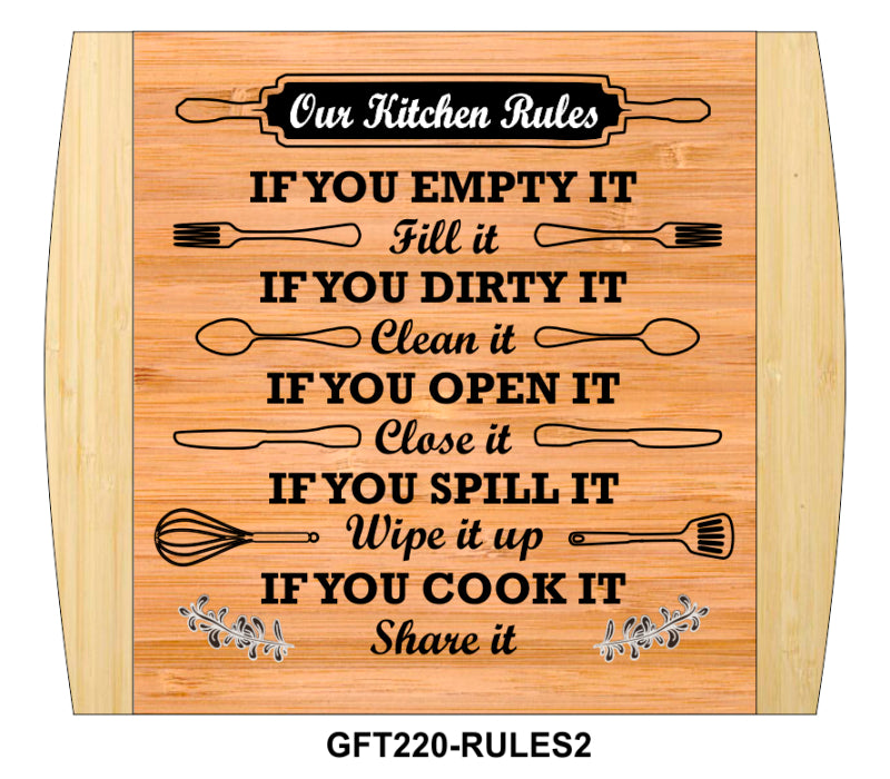 "Cutting Board-Rectangle-2-Tone-13.5"" x 11.5""-Kitchen Rules 2-Bamboo"