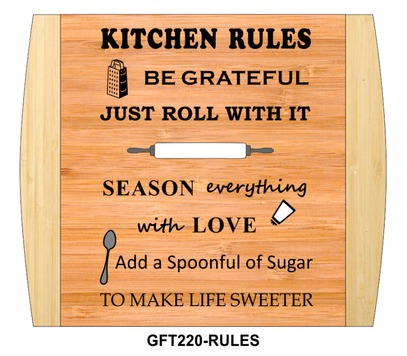 "Cutting Board-Rectangle-2-Tone-13.5"" x 11.5""-Kitchen Rules-Bamboo"