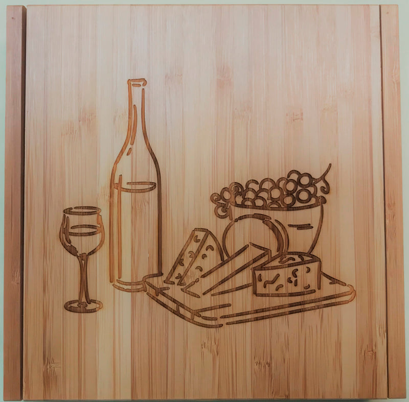 "Cutting Board with Cheese Tools-8"" x 8""- Bamboo"