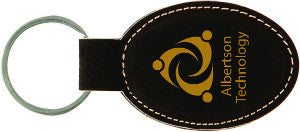 "Keychain-3"" x 1.75""-Black/Gold-Oval-Leatherette"