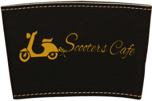"Mug Sleeve-3""-Black/Gold-Leatherette"