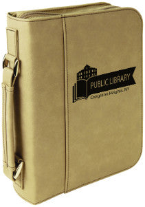 "Book Cover with Zipper & Handle-7.5"" x10.75""-Light Brown-Leatherette"