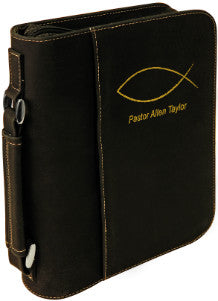 "Book Cover with Zipper & Handle-7.5"" x 10.75""-Black/Gold-Leatherette"