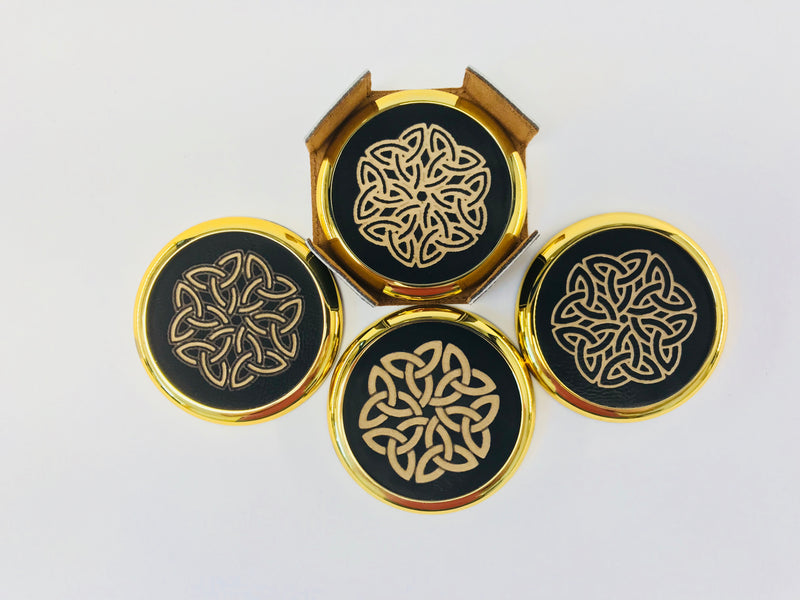"4-Coaster Set w/Holder-3 5/8""-Round-Black/Gold Edge-Celtic Knots-Leatherette"