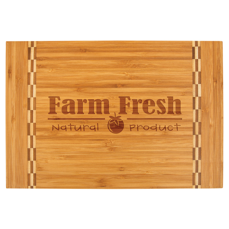 "Cutting Board-Rectangle-Butcher Block Inlay-15"" x 10 1/4""-Bamboo"