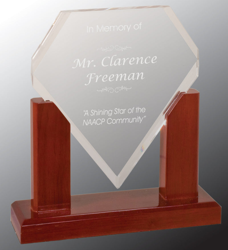 "Acrylic Award-Diamond-7""-Clear Acrylic Diamond with Mahogany Finish Wood Base"
