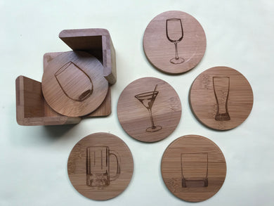 Round 6-Coaster Set with Holder-Bamboo-Glasses