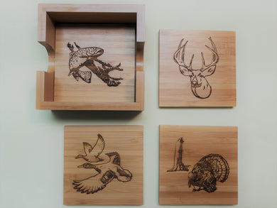 Square 4-Coaster Set with Holder-Bamboo-Animals