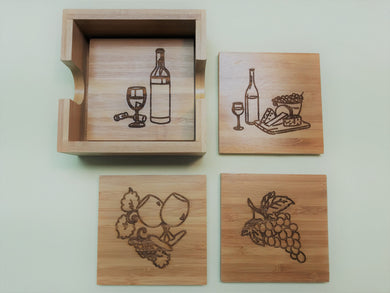 Square 4-Coaster Set with Holder-Bamboo-Drawings