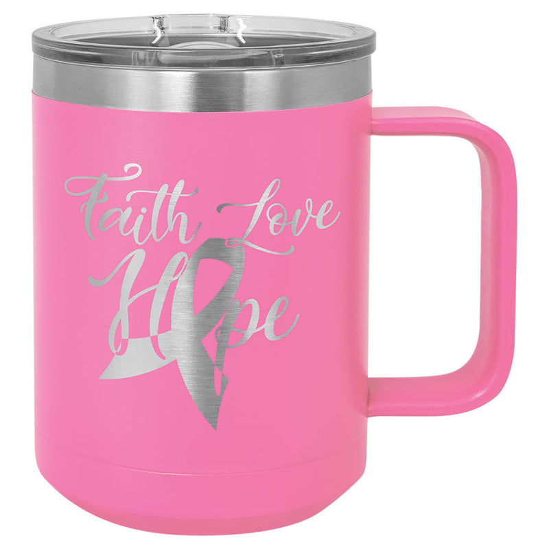 Coffee Mug-Pink 15 oz. Vacuum Insulated with Slider Lid