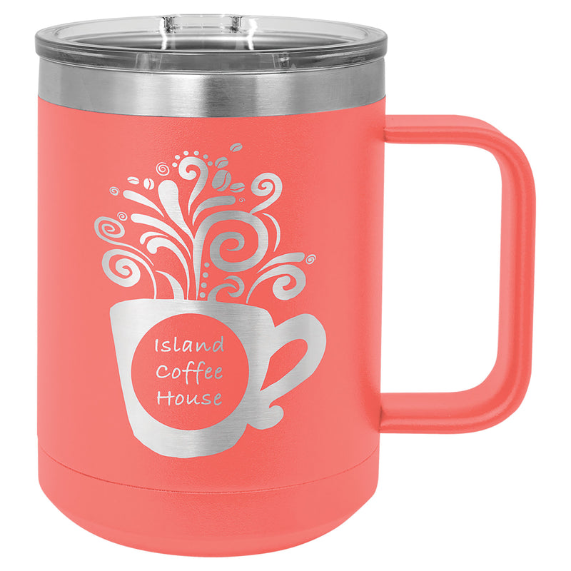 Coffee Mug-Coral 15 oz. Vacuum Insulated with Slider Lid