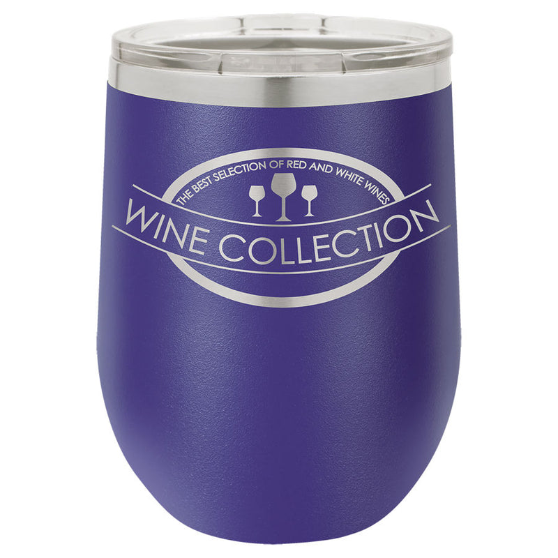 Wine Tumbler Purple 12 oz Vacuum Insulated with Lid