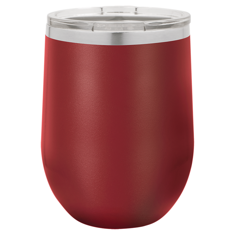 Wine Tumbler Maroon 12 oz Vacuum Insulated with Lid